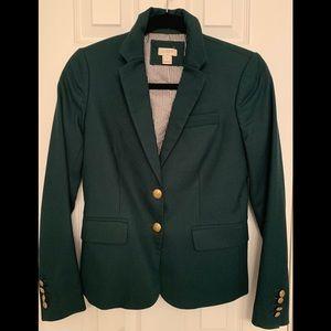 J. Crew Schoolboy Dark Green Wool Blazer Sz. 0